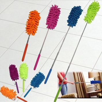 1 pc Retractable Chenille Feather Duster Adjustable Chenille Car Feather Duster Dust Shan Dusting Brush Household Handle Magic D