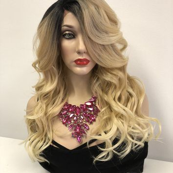 Blond Ombre' Lace Front Wig | Curly Layered Hair | Summer