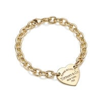 Tiffany & Co. - Return to Tiffany™ heart tag bracelet in 18k gold.