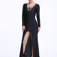Punk Rave Black gothic Rock cosplay Steampunk Long Sleeve Dress