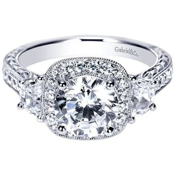 Vintage Halo 3-Stone Plus 2.35cttw Diamond Engagement Ring with Trapezoid Side Diamond