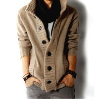Amtify Men's High Collar Cardigan
