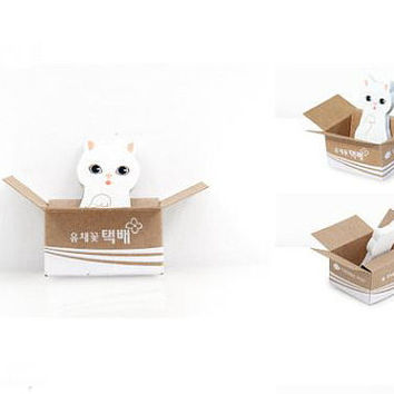 Memo Pads Sticky Notes Labels | Bookmark Stationary | School Office Supplies | White Cat Kitty Cute Korean Post-It Finger M13