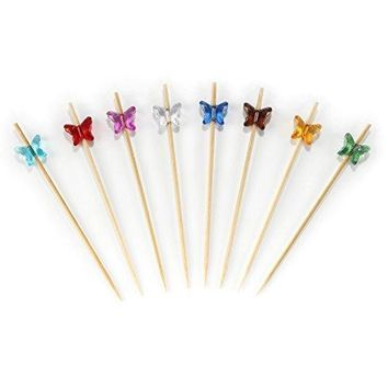 BambooMN 39quot Decorative Acrylic Purple Butterfly End Bamboo Cocktail Fruit Sandwich Picks Skewers for Catered Events Holidays Restaurants or Buffets Party Supplies 100 Pcs