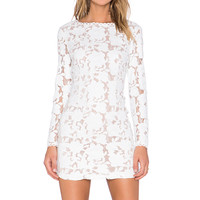 Endless Rose Faux Leather Lace Dress in White