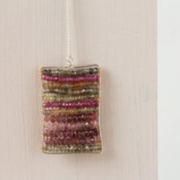 Multi Sapphire Pendant on Sterling Silver Chain, Wire Wrapped Gemstone Pendant Necklace, Multi Colored Sapphire Jewelry