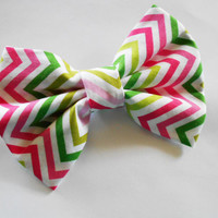 Pink Chevron hair bow - big fabric hair bows - girls accessories - rainbow trendy back to school gear -blue yellow red zig zag print