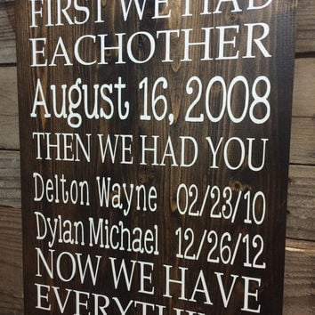 first we had each other sign primitive home decor now we have everything custom - Custom Signs For Home Decor