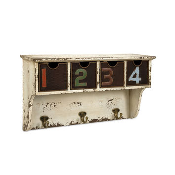 Antiqued Wall Cubby with Hooks
