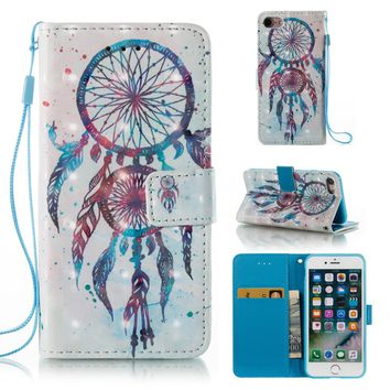 """Feather Dream Catcher 3D Colorful Pattern Wallet Flip Stand Pouch Shell Case For Apple iPhone 7 4.7"""" Leather Cover Coque Fundas"""