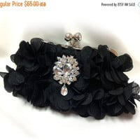 Wedding clutch, formal evening bag,  bridesmaid clutch, vintage inspired clutch, bridesmaid bag, Black ruffle clutch