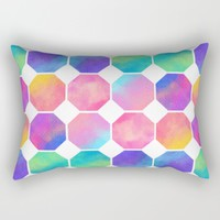 Watercolor Octagons Rectangular Pillow by Noonday Design