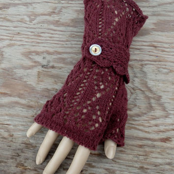 Knit fingerless gloves, knitted lace arm warmers, brown autumn gloves, lace  mittens, handmade accessories, knitting wool mitts, handcraft