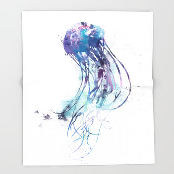 Jellyfish Throw Blanket by monnprint