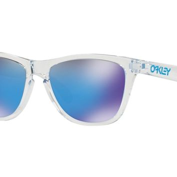 Authentic OAKLEY FROGSKINS Crystal Clear Prizm Sapphire Sunglasses OO9013-D055