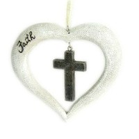 "St. Nicholas Square® ""Faith"" Heart with Cross Christmas Ornament"