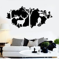 Vinyl Wall Decal Nature Deer Animal Trees Home Interior Room Stickers Unique Gift (ig3838)