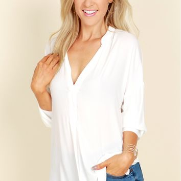 High Low Blouse Bright White