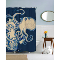 72 Inch Ocean Scuba Diver Octopus Shower Curtain