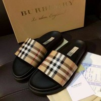 Burberry 2018 Counter Classic Plaid High Quality Slippers Sandals F-ALS-XZ