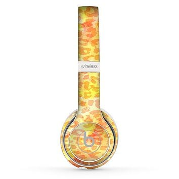 The Bright Yellow and Orange Leopard Print Skin Set for the Beats by Dre Solo 2 Wireless Headphones