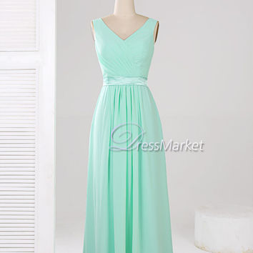 V neck floor length mint chiffon and lace prom dress,Long mint evening dress,long mint chiffon bridesmaid dress,,DressMarket105