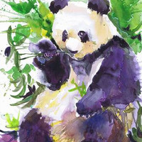 Panda, wildlife,  watercolor,   wall decor,  animal art, art print