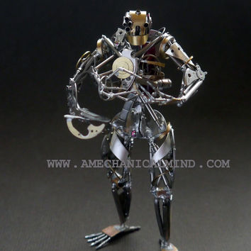 "Watch Part Sculpture ""Chronoton"" Clockwork Mechanical Humanoid Robot Recycled Assemblage Steampunk Justin Gershenson-Gates A Mechanical Mind"