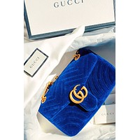 Gucci Marmont wave line shoulder bag Velvet metal buckle bag blue