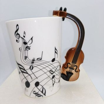 Free shipping Personality Music Guitar Electric Bass Black Note Porcelain Coffee Milk Tea Water Cups Mugs betty Music cup