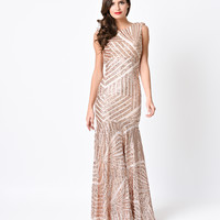 1930s Style Rose Gold Geometric Sequin Deco Beaded Evening Gown