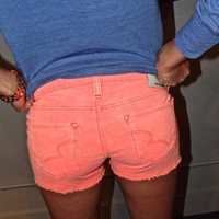 Neon Coral Corduroy Shorts | The Rage