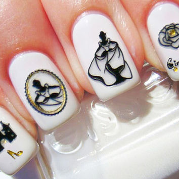 Cinderella Disney Nail Decals, Nail Sticker, Foil Stamp, Nail Stickers, Nail Art
