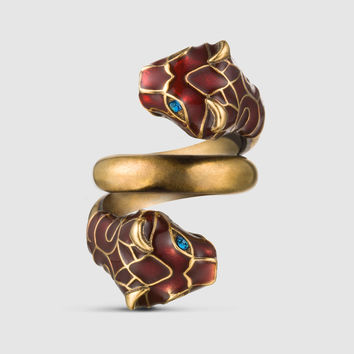 Gucci Tiger head ring with enamel