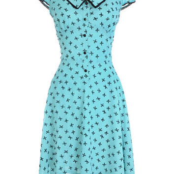Dainty Dame Flocked Bows Dress by Voodoo Vixen