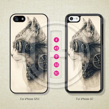Phone Cases, iPhone 5S Case, iPhone 5 Case, iPhone 5C Case, iPhone 4 case, iPhone 4S case, Steampunk Cat, Case For iPhone --L50075