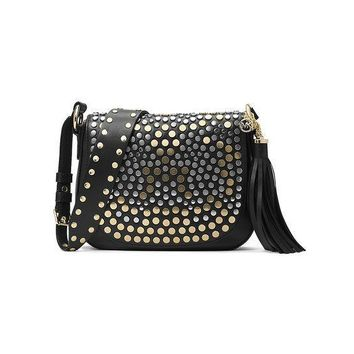 DCCK MICHAEL Michael Kors Studded Brooklyn Medium Saddle Bag