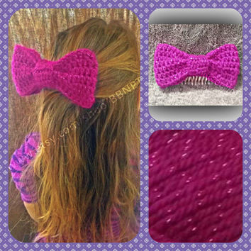 Fuchsia Sparkle Oversized Bow Comb Barrette (pink, glitter, purple, large, hair)