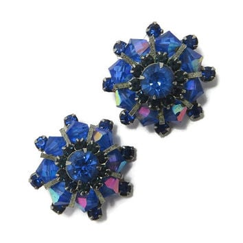 Weiss Royal Blue Earrings, Vintage Rhinestone Earrings, AB Rhinestone Earrings, Signed Weiss Jewelry, Silvertone Designer Clip-on Earrings