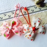 Girl ponytail bands - elastic ponytail holders- hair bow
