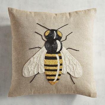 Beaded Bumble Bee Pillow