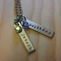 Hand Stamped Mom Necklace Grandma or Nana Necklace with Names and birthstones