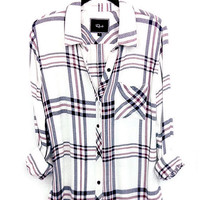 Rails Hunter buttondown in white/navy/rose