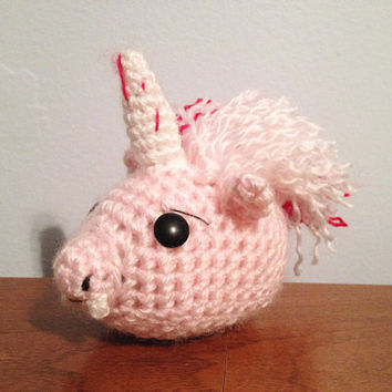 OOAK Vampire Unicorn Plush Toy - Crochet Amigurumi - Nerdy Plushies - Unique Geek Stuffy - Mythical Creature - Crochet Pink Unicorn Head