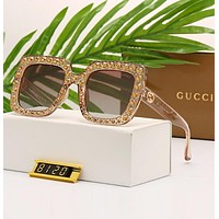 """GUCCI"" Summer Popular Ladies Diamond Shades Eyeglasses Glasses Sunglasses Light Brown I12471-1"