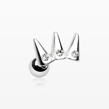 Triple Spike Crown Sparkle Cartilage Tragus Earring