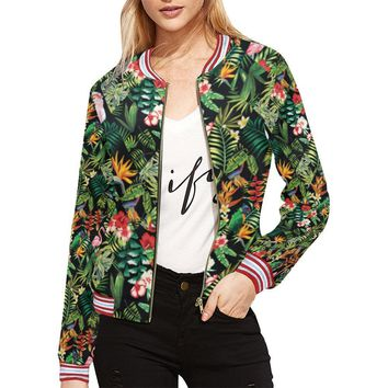 Floral Tropics Design 2 Women's All Over Print Horizontal Stripes Jacket