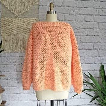 Vintage 1980s Day-Glo Melon + Handknit Sweater