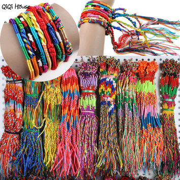 20Pcs Retro Rainbow Handmade Bracelets For Women Men Unisix Couple Best Friends Loom Bands Brazaletes Pulseras Mujer#A11