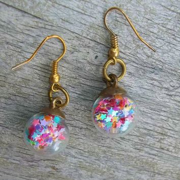 """"""" Mixed Color Star Confetti Gold Tone 1"""" Dangle Drop Earrings, Star Earrings, Gift for Her,  Party Earrings"""